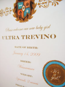 Haute Dog Birth Certificate