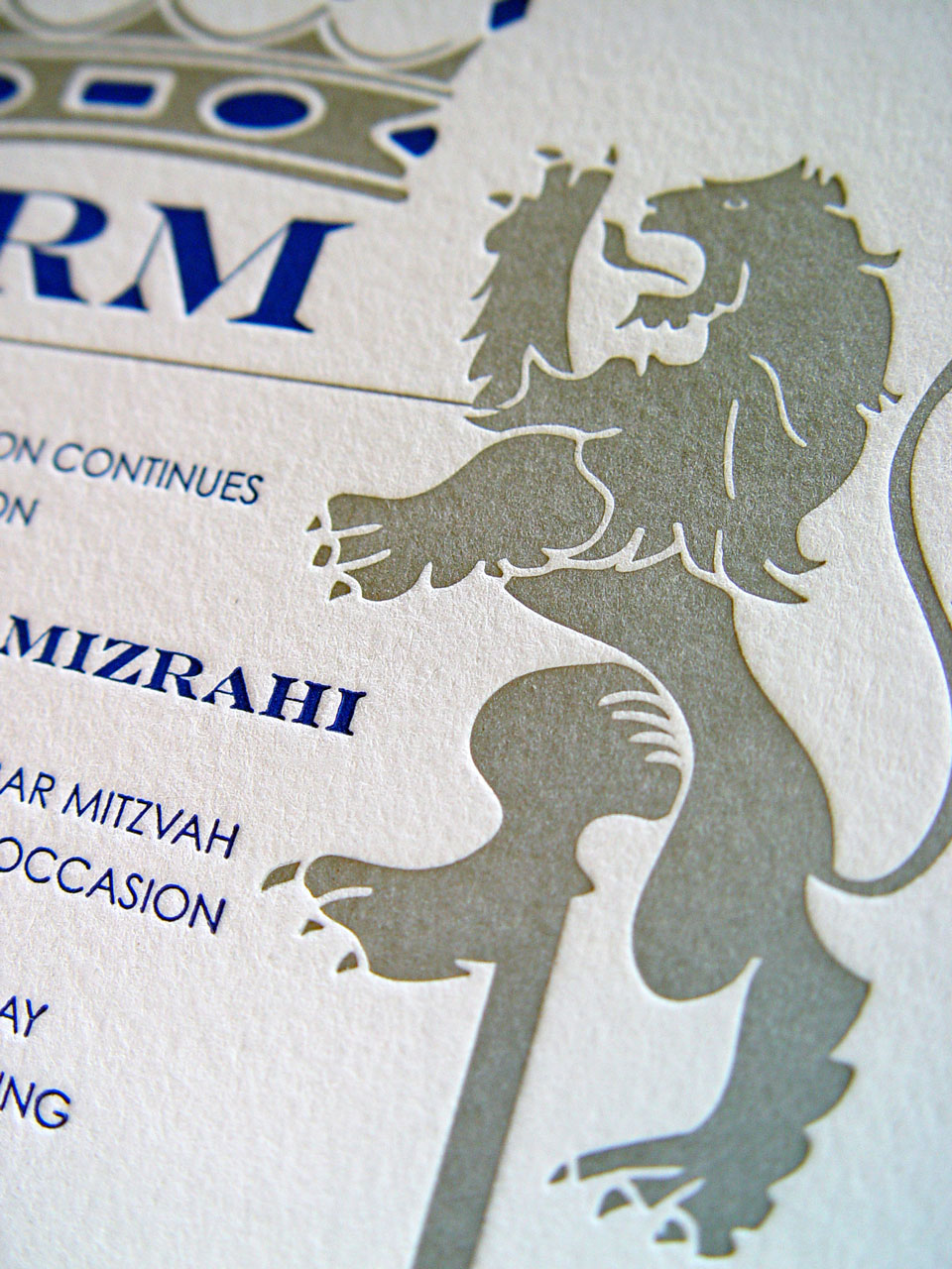 Mazel Lions Invitation Close Up